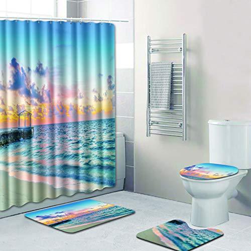 Xmansky Blaue Strand-Ozean-Serie Duschvorhänge Badematten Set 4tlg,Polyesterfaser Badvorleger Bad teppiche WC-Vorleger Toilettensitz-Bezug Wasch Mat Teppich für Schwimmbad Toilet (Blau Duschvorhang Set)