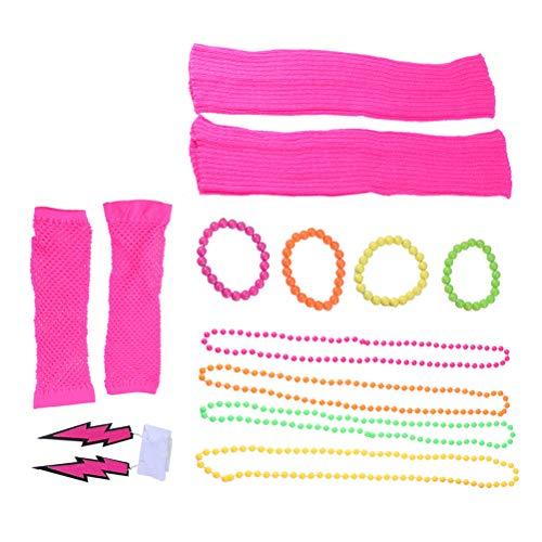 Amosfun 80er Jahre Spitze Stirnband Neon Ohrringe Fingerlose Netzhandschuhe Perlen Halsketten Bein Ärmel für 80er Jahre Party Single Party Bachelorette Party Supplies (Bachelorette Supply Party)