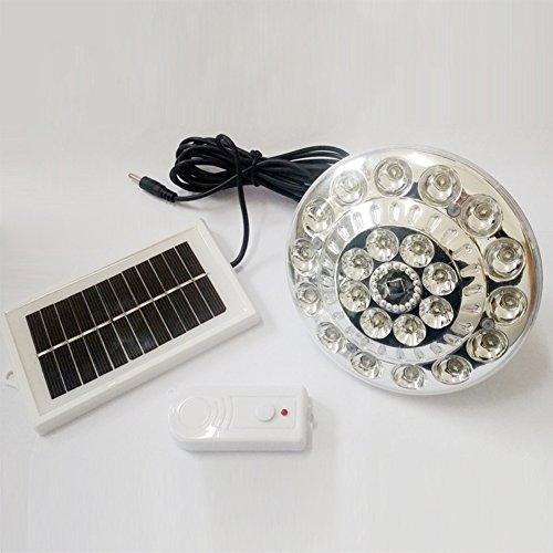 HINMAY Solarbetriebene LED-Lampe, tragbar, superhell, 22 LEDs, runde Lampe mit Solarpanel, Fernbedienung, für Outdoor-Aktivitäten, Wandern, Camping, Zelt, Angel-Beleuchtung, weiß, Free Size