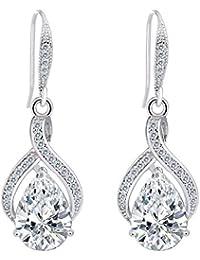 TENYE Full CZ Bridal Twist Figure 8 Infinity Teardrop Hook Dangle Earrings Clear Silver-Tone