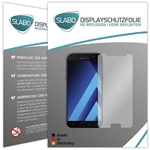 """Preisvergleich Produktbild 4 x Slabo Displayschutzfolie für Samsung Galaxy A5 (2017) SM-A520F Folie Zubehör (verkleinerte Folien, aufgrund der Wölbung des Displays) """"No Reflexion"""" MATT - entspiegelnd MADE IN GERMANY"""