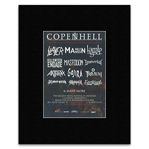 COPENHELL - 2012 Slayer Marilyn Manson and Lamb Of God Matted Mini Poster - 28.5x21cm
