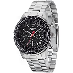 DETOMASO Firenze Men's Quartz Watch with Black Dial Chronograph Display and Silver Stainless Steel Bracelet Sm1624C-Bk1