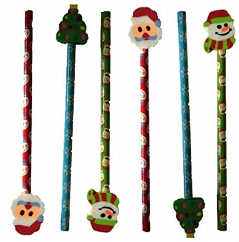 6 Christmas Pencil with Eraser Toppers Xmas Favours Girls Boys Kids Children Party Toy Bag Filler - Santa Snowman Snowlake & Christmas Tree Design Stationery Set by Concept4u