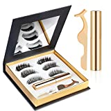 Cils magnétiques, Kit de cils magnétiques Eyeliner Waterproof, Cils 3D d'aspect réutilisables naturel avec 3 paires de cils avec eye-liner magnétique