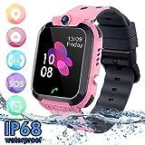 Niños Smartwatch - Reloj de Pulsera Inteligente con Ubicación GPS/LBS Reloj Despertador SOS Reloj Digital Cámara Juegos para Niños compatibles iOS/Android(Rose)