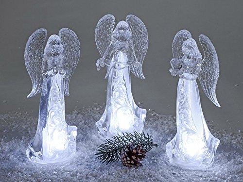 Formano Deko Engel mit LED-Licht, 24 cm, Weiß, 1 Stück (Sortiert)