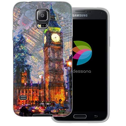 dessana London Gemälde transparente Schutzhülle Handy Case Cover Tasche für Samsung Galaxy S5/Neo London Straße (S5 Case London Galaxy Samsung)