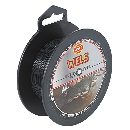 WFT Zielfisch Wels 200m - Monofile Wallerschnur zum Wallerangeln, Angelschnur Welsangeln, Monofile Schnur für Waller, Welsschnur, Durchmesser/Tragkraft:0.50mm / 16.5kg Tragkraft