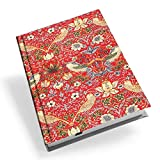 William Morris Red Strawberry Thief Adressbuch, A5, Hardcover, Rot