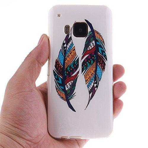 HTC One M9 hülle MCHSHOP Ultra Slim Skin Gel TPU hülle weiche Silicone Silikon Schutzhülle Case für HTC One M9 - 1 Kostenlose Stylus (mandel blumen baum mit blauem hintergrund (almond flowers tree wit Tribal Aztec Feder (Tribal Aztec Feather)
