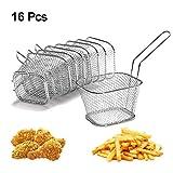 8Pezzi Cestelli per Friggitrice in Acciaio Inox, Chip Serving Basket Friggitrici Crisps Zeppe Anelli di Cipolla Friggente Presentazione di Alimenti Filtro in Acciaio Inossidabile