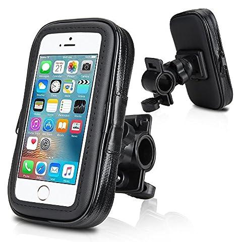Support vélo du guidon,Wotek Universel Support fixation guidon avec étui imperméable pour téléphone mobile 4,0 pouces - 4,3 pouces tels que iPhone SE 5S 5