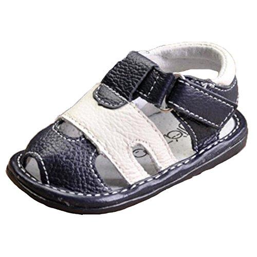 Ohmais Enfants Chaussure bebe garcon premier pas Chaussure premier pas bébé sandale en cuir souple Bleu