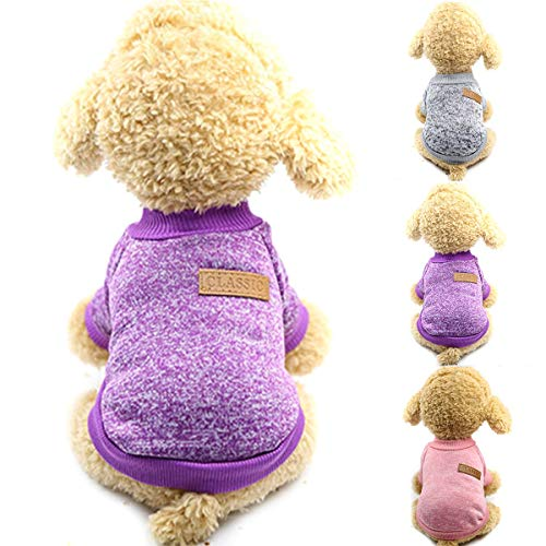 Ruiqas Hund Kleidung Verdickung warme Strickjacke Winter Puppy Knitwear Hoodie (Size : Mottled Ash XL) Ash Pullover Hoodie