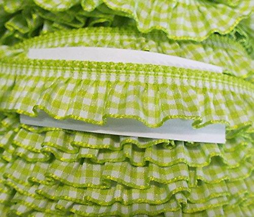 Volant elastisch Vichy-Karo 19 mm (apfel grün-weiß) (Rüsche Band)