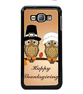 Fuson Designer Back Case Cover for Samsung Galaxy J1 (6) 2016 :: Samsung Galaxy J1 2016 Duos :: Samsung Galaxy J1 2016 J120F :: Samsung Galaxy Express 3 J120A :: Samsung Galaxy J1 2016 J120H J120M J120M J120T (Wishes Thanksgiving Owls hat Cap)