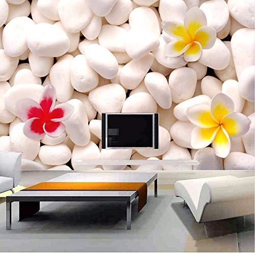 Stoff Kopfsteinpflaster (Lsfhb Großhandel 3D Wandbild Sofa Tv Hintergrund Benutzerdefinierte Wandbilder Schlafzimmer Vlies Stoff Weiß Kopfsteinpflaster Blume 3D Fototapeten-250X175Cm)