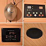 Elbe Infrarotkabine für 2 Personen aus Hemlockholz mit 5 Keramikstrahler, Innensauna, Saunakabine mit Farblichtherapie, Ionisator und Musikanlage mit Bluetooth, AUX, USB-Stick, SD-Karte Funktion - 6