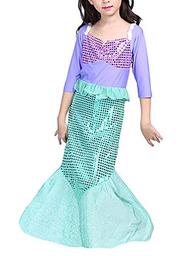 FStory&Winyee Kinder Kostüm Meerjungfrau Mädchen Prinzessin Kleid Pailletten Cosplay Karneval Party Verkleidung Halloween Fest Fasching Kostüm
