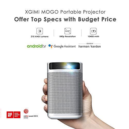 XGIMI MOGO 540p, 210 ANSI Lumen, proyector portátil Inteligente,Mini proyector con Android TV 9.0, Youtube y más de 4000 Aplicaciones, Altavoces de Harman / kardon