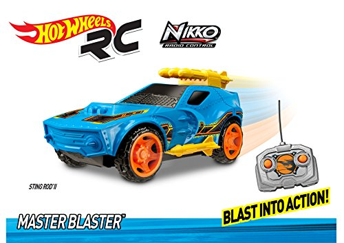 Toy State Hot Wheels Coche teledirigido Radio Control con luz,Sonido y musisca Master Blaster Sting Rod II