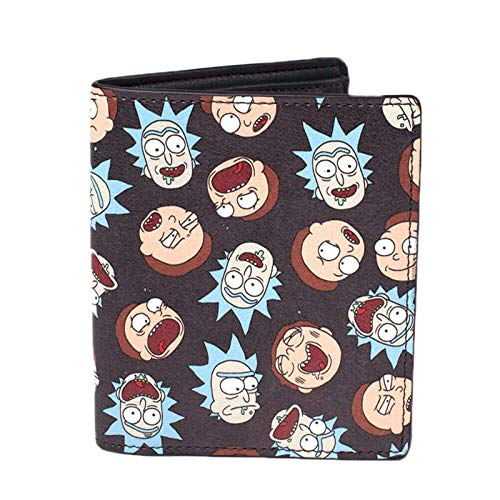 Rick And Morty - Monedero Plegable (12 cm), diseño de Caras, Color Negro