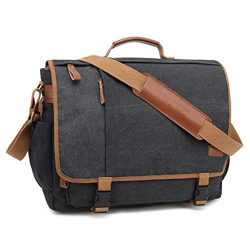 CoolBell Aktentasche Messenger Bag Umhängetasche Laptop Tasche Business Briefcase Multifunktions Reise Tasche Passend für 15,6 Zoll MacBook/Notebook/Damen/Herren(Canvas Schwarz)