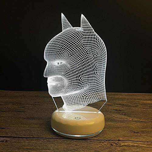 Porzellan White Base Batman Fernbedienung Bunte 3D-Lampe Led Vision Stereo-Licht Schalter Nacht-Lampe Usb-Stromversorgung + Fernbedienung -