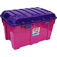 High Grade Pink 48Lt Large Plastic Kids Toy Organiser Storage Box Tidy & Purple Clip-On Lid