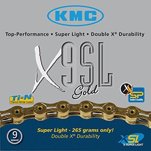KMC Fahrrad Kette KMC X-9-SL gold 9-fach Superlight 18 27 Gang 116 Glieder Karton Shimano Schaltung, 300902 (Superlight Kette)