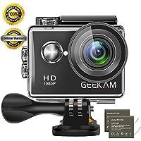 GeeKam Action Cam 1080P Wasserdicht 30 Meter Unterwasserkamera Aktion Kamera WiFi Sport Kamera 12MP Full HD 2 Zoll LCD 170 ° Ultra Weitwinkel mit 2 Batterien und Zubehör
