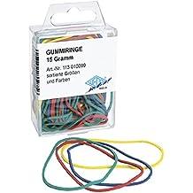 Wedo 113010099 Gummiringe in SB-Klarsichtdose, 15 Gramm, sortierte Größen und Farben