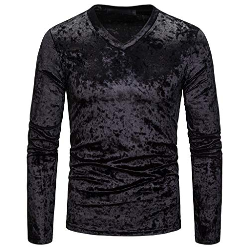 DNOQN Männer T Shirt Slim Fit T Shirts Sportbekleidung Herren Mode Persönlichkeit Männer Beiläufig Senior Revers Diamant Samt T-Shirt Top Bluse XXL