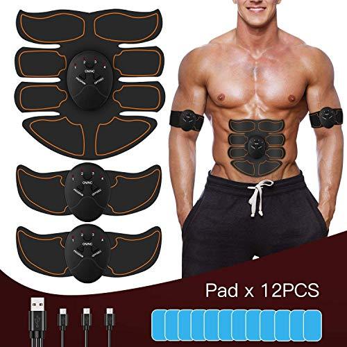 Nitoer EMS Elektrostimulation Muskel Trainer,Bauchmuskeltrainer,Muskelstimulator,USB Wiederaufladbar Elektrostimulatoren Massageger/ät,St/ärkung der zentralen seitlichen Bauchmuskulatur
