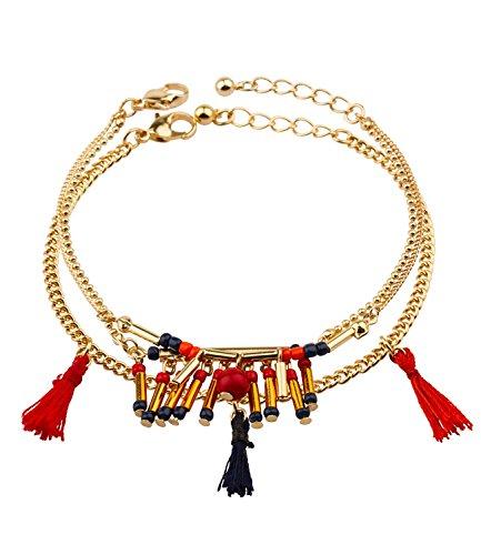 SIX 2er Set, Armbänder, bunt, Gold, Perlen, Tassel, Quasten, rot, blau, Festival, Sommer, Hippie, Boho (460-540)