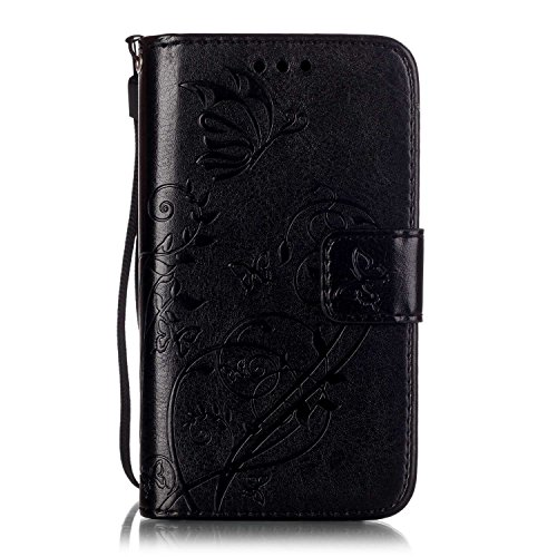 Prägen Blumen-Case, Magnetverschluss Synthetische PU-Leder-Kasten-Abdeckung mit hängenden Seil und Wallet-Funktion für Samsung S7392 ( Color : Blue , Size : Samsung S7392 ) Black