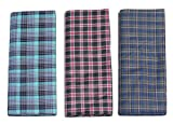 #5: Mandhania Men's 100% Cotton Lungi Assorted Color and Checks Pack of 3 (2.5Mtr.)