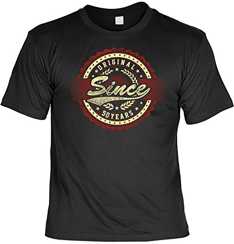 Lustiges T-Shirt zum 50. Geburtstag 50 Jahre Original Since mit Mini-Shirt Set 50 Geburtstag 50 Jahre Geschenk für das Geburtstagskind Schwarz