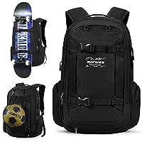 Skateboard Backpack Basketball Baseball Football Soccer Ball Multi-function Backpack With USB Port Basketball Net Fits 17.3 Inch Laptop Black