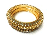 #9: OranGey Fashion - A Very Beautiful & Traditional Bangle 1gm Gram Gold plated Designer Kundan Bangles for Women & Girls (Set of 2)