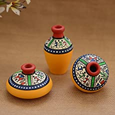 Unravel India Teracotta Yellow Warli handpainted Decorative Pot(Set of 3)