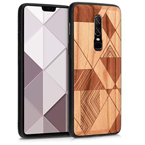kwmobile Holz Schutzhülle für OnePlus 6 - Hardcase Hülle mit TPU Bumper Kirschholz in Dreiecke Linien Design Braun Dunkelbraun - Handy Case Cover