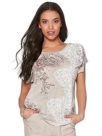 M&Co Ladies Petite Size Scoop Neckline Short Sleeve Floral Lace Print Burnout T-Shirt Oatmeal 18