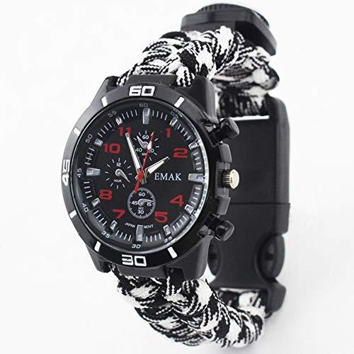 Imagen de umiwe brazalete de paracord, reloj de pulsera de supervivencia 6 en 1, brazalete de supervivencia kit de engranajes de supervivencia con silbato de arranque de paracord silbato