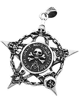 Anhänger Freimaurer Totenkopf Pentagramm Stern Edelstahl Halskette Lederkette Kugelkette Masonic Gothic Damen...