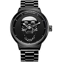 jiangy uyan Caliente Pirata Mode cráneo Estilo Cuarzo Hombres Relojes Marca Hombres Military Acero Inoxidable Hombres