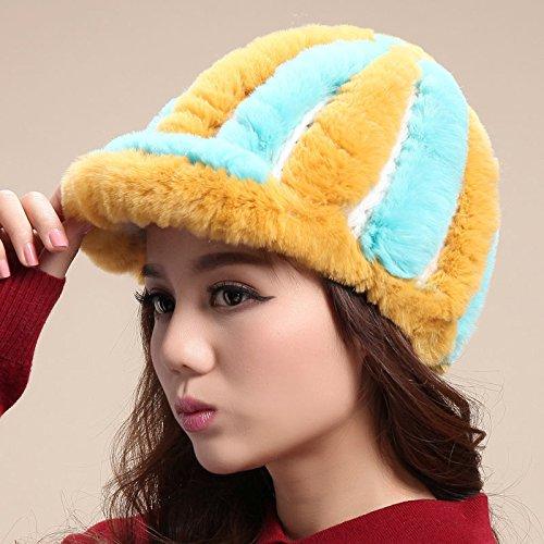 FQG*Cap berretto da baseball caldo inverno tappi tappo auricolare peli di coniglio in pelle cappelli cappello di paglia bambini autunno inverno , Giallo Verde