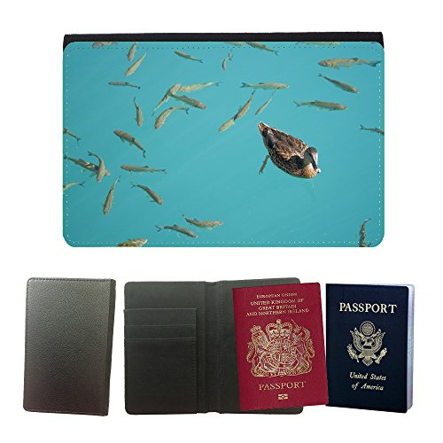 GoGoMobile Muster PU Passdecke Inhaber // M00124165 Sommer Ente Wasser Fisch Teich Ducks // Universal passport leather cover (Teich Sommer)