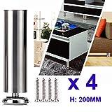 4 unidades Qrity Patas de Metal muebles armario de cocina pies redondo - Estera de goma - Caja fuerte y silenciosa 50 x 200mm